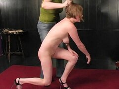 Curvy body girl tied up in BDSM video
