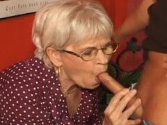 He gives granny a good fuck in the pussy