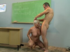 Mature teacher Cecily seduces a guy and fucks him in the classroom