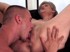 Granny pussy licked and fucked by young man