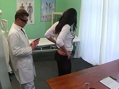 Horny patient fucked with fake doctor on examining table