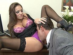 The kinky looking secretary strikes again as she rides her boss boner