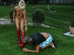 Sexy blonde babe in sexy red boots jerks and sucks his dick outdoors