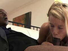 Slim blonde with perky tits and a spicy ass Aiden can't resist a big black dick