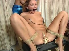 Amateur blonde babe bounded and tortured by maxine x