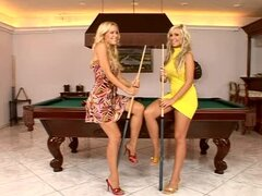 Adriana Russo and Sophie Moone play pool and explore each other's vags