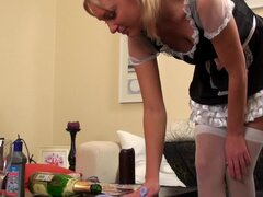 Breathtaking blonde teen in French maid outfit