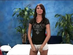 Cute 18 year old massage therapist Cassandra gives a little more than a massage!
