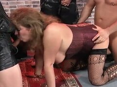 Piss: Three guys and one fat slut enjoy some fat pussy