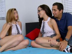 Hot nerdy teen chicks fuck one cock awesome threesome