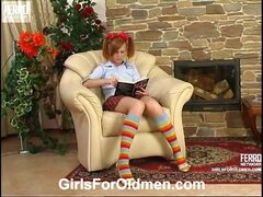 Ponytailed girl in pleated skirt and stripy knee-highs trying hard old cock