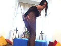 Veronica Da Souza gets her pussy fucked through the hole in her black bodystocking