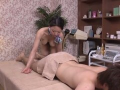 Hot Asian MILF Gives a Nice Massage and a Great Blowjob and Cock Ride
