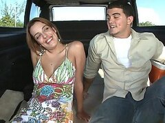 Banging car hooks up good-looking brunette babe for money and for fuck