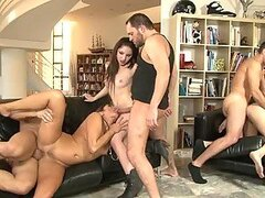 Three horny couples have astonishing group sex in the living room