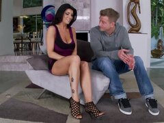 Romi Rain gives a perfect footjob and enjoys multiposition sex