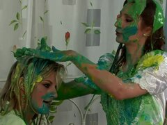 Sexy bride covered in green goo