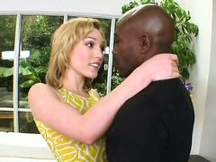 Delicate whitey Lily Labeau trying to stuff a black monster cock into her mouth