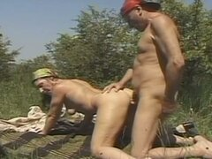 Slutty granny loves to fuck outdoors