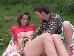 Bella E being hardcore fucked in her pussy in the park