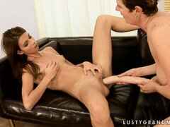 Hairy grandma gets her snatch fisted by a young lesbian cutie