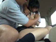 Japanese school girl has sex in a car with an older guy