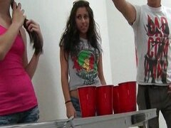 Naked Beer Pong On College Campus