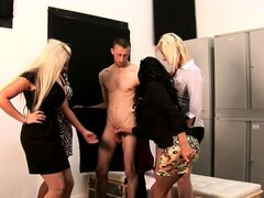 Four femdom cfnm skanks jerk and suck dude