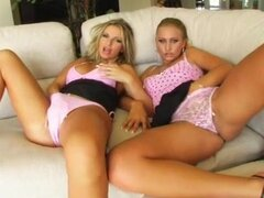 Fascinating blondes in lingerie get fucked in threesome