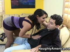 Charley Chase is in torn fishnets and bends over to eat his wienie